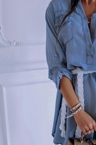 Summer Sexy Plunge V Neck Long Sleeve Waist-Tie Button Down Plain Mini Denim Dress