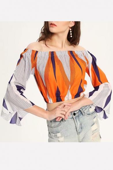 Summer New Arrival Womens Colorblock Off Shoulder Bell Sleeve Elastic Waist Crop Blouse