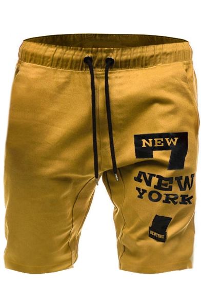 Summer New Fashion Letter NEW YORK 7 Printed Drawstring Waist Casual Sports Sweat Shorts for Men