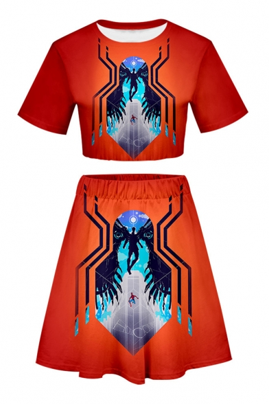 Summer Popular Spider Printed Short Sleeve Crop Tee with Mini A-Line Skirt Two-Piece Set, LM543768