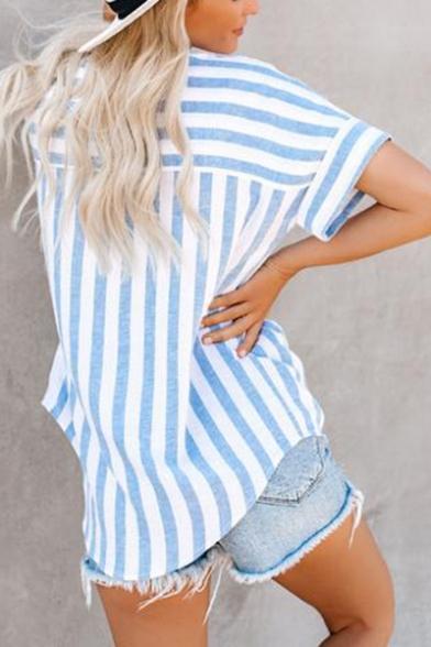 Summer Trendy Light Blue Vertical Wide Striped Short Sleeve Shirt Blouse