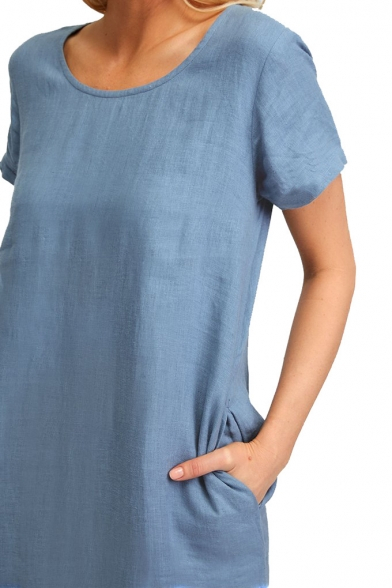 Summer Trendy Solid Color Round Neck Short Sleeve Split Side Maxi Casual Loose Linen Dress