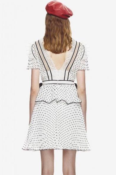 Summer Womens Fashion V Neck High Waist Ruffle Sleeve Polka Dot Printed Lace Patch Layer Hem Mini A-Line Dress