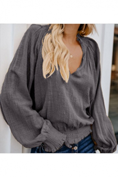 Women's Trendy Simple Plain V-Neck LOng Sleeve Loose Fitted Blouse Top