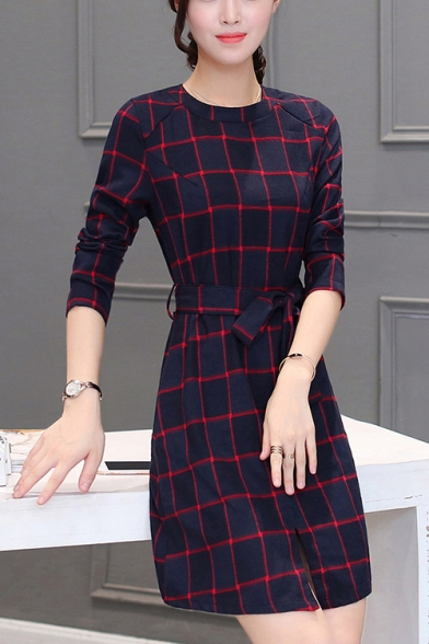 Womens Classic Check Pattern Round Neck Long Sleeve Bow-Tied Waist Mini A-Line Dress
