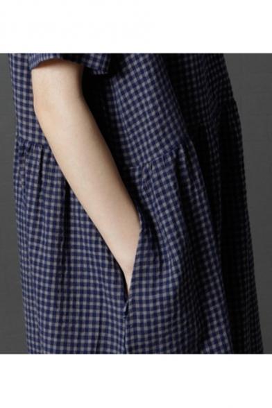 Womens Fashion V-Neck Short Sleeve Plaid Print Midi Swing Dress