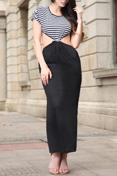 Womens Hot Fashion Striped Round Neck Short Sleeves Cutout Maxi Fitted Night Dress