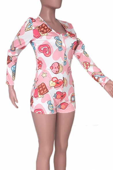 Womens Hot Trendy Pink Candy Printed Plunge V Neck Long Sleeve Sexy Rompers