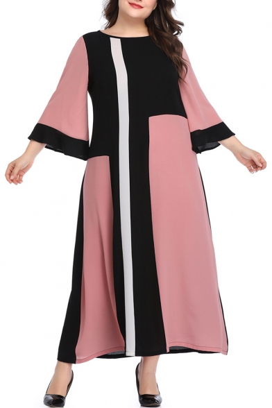 Womens Plus Size Fashion Round Neck Bell Sleeve Color Block Maxi Swing Dress