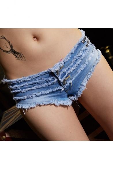 Womens Sexy Low Rise Distressed Frayed Hem Night Club Hot Pants Denim Shorts Jeans