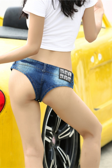 Womens Sexy Night Club Simple Letter BEING HUMAN Low Rise Indigo Dance Panty Denim Shorts