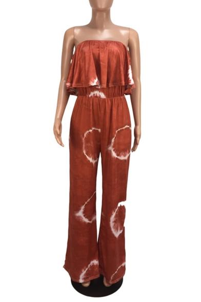Womens Summer Chic Fashion Straps Sleeveless Ruffle Trim Circle Printed Wide Leg Jumpsuits