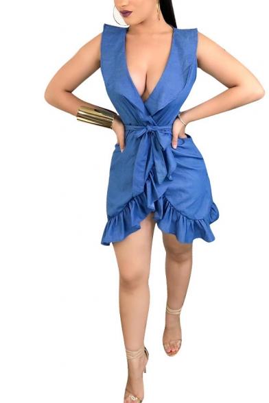 Womens Summer Denim Blue Plain Plunging Neck Sleeveless Tied Waist Mini A-Line Ruffled Dress