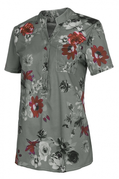 Womens Summer Fancy Floral Print Button V-Neck Short Sleeve Casual Blouse Top