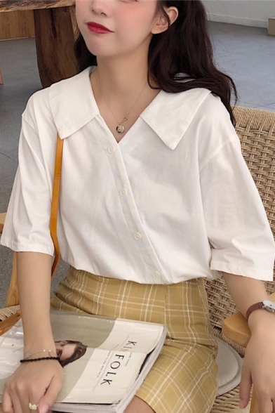 Womens Summer Fancy Simple Plain Oblique Button Down Short Sleeve Crop Cotton Shirt Blouse
