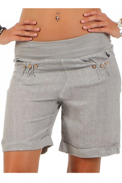 Womens Summer Stylish Simple Solid Color Button Embellished Rolled Cuff Casual Shorts