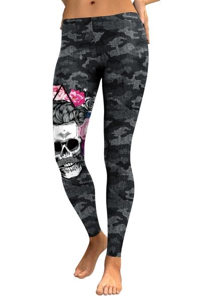 Womens Trendy Black Low Waist Skull Printed Fitted Camo Legging Pants