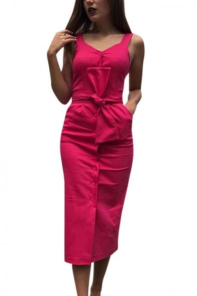 Womens Trendy Plain V-Neck Sleeveless Button Down Tied Waist Maxi Sheath Dress