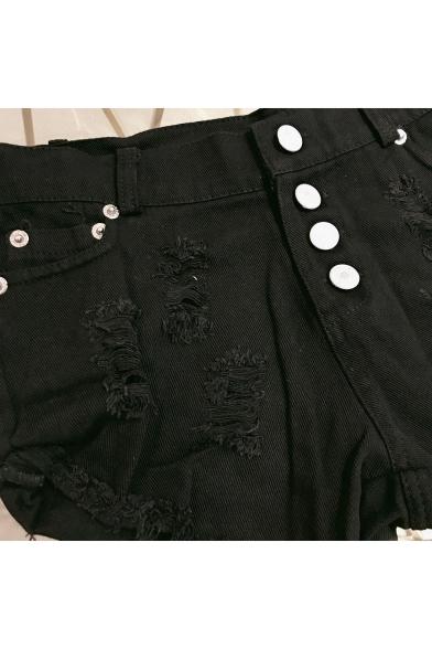 Womens Trendy Summer High Rise Destroyed Ripped Raw Hem Night Club Hot Pants Denim Shorts