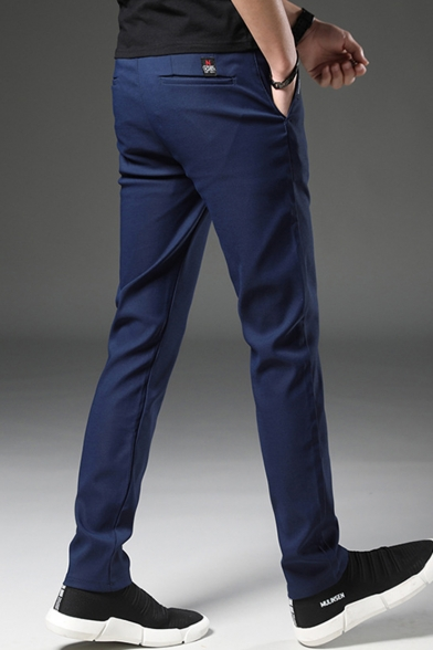 Basic Fashion Simple Plain Slim Fitted Casual Dress Pants for Guys