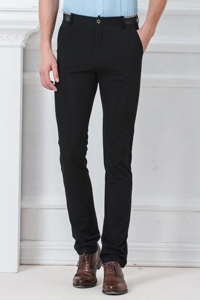 Basic Simple Plain Men's Slim Fitted Straight Business Dress Pants