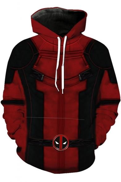 Fashion Comic Cosplay Costume Long Sleeve Sport Loose Red Drawstring Hoodie