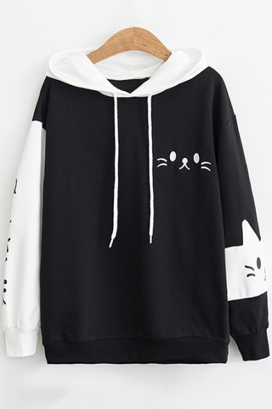 Girls Lovely Cartoon Cat Printed Two-Tone Black and White Loose Fit Hoodie