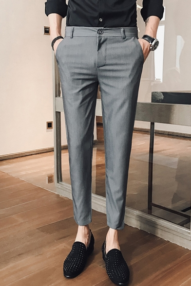 Guys Fashion Simple Plain Straight Tailored Suit Pants Slim Dress Pants