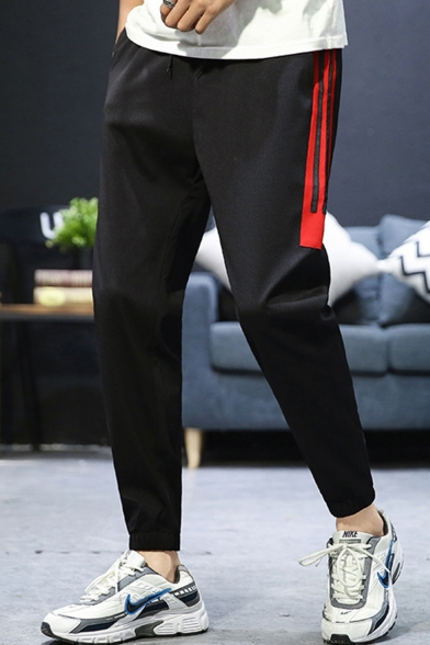 Guys Popular Fashion Colorblock Stripe Side Casual Cotton Sports Tapered Pants