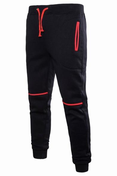 Hot Fashion Contrast Detail Drawstring Waist Casual Sports Joggers Cotton Sweatpants for Men