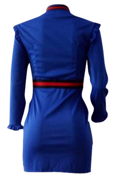Hot Fashion Womens Blue Contrast Trim Long Sleeves Zip-Fly Bow-Front Mini Empire Waist Dress