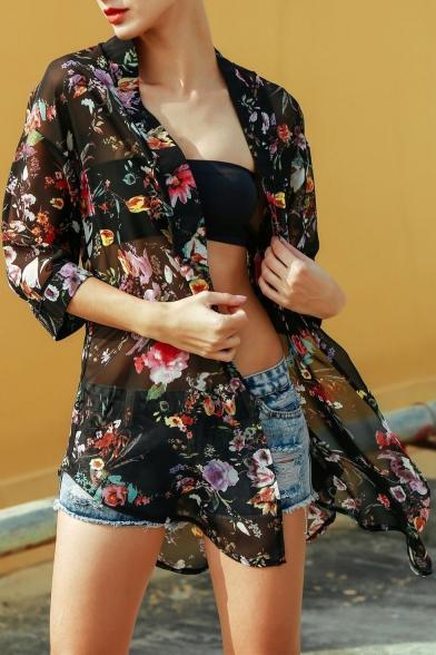 Hot Fashion Womens Floral Print Half Sleeve Chiffon Holiday Sunscreen Tunic Cardigan Shirt