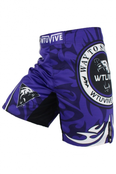 Men's Cool Fashion Wolf Skull Printed Professional Boxing Shorts