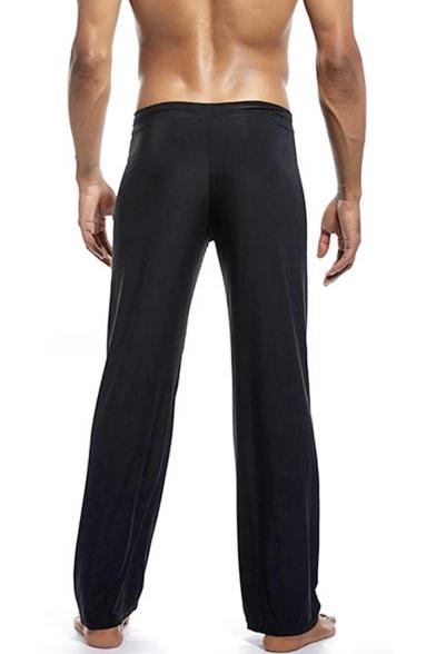 Men's New Fashion Simple Plain Ice Silk Fabric Black Drawstring Waist Wide Leg Pants