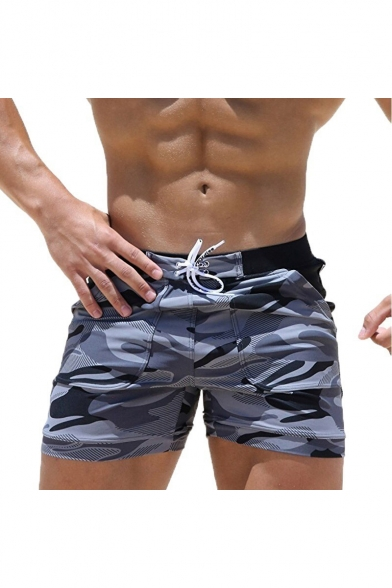 Men's New Stylish Camouflage Pattern Drawstring Beach Shorts Swim Trunks with Pocket