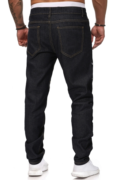 Men's New Stylish Colored Spray Painted Relaxed Fit Jeans