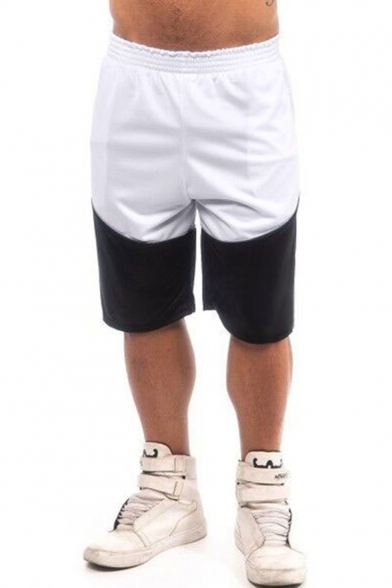 Men's Simple Fashion Color Block Elastic Waist Casual Breathable Loose Fit Athletic shorts