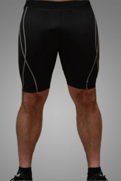 Men's Stylish Contrast Stripes Printed Skinny Fit Quick-drying Sport Running Shorts
