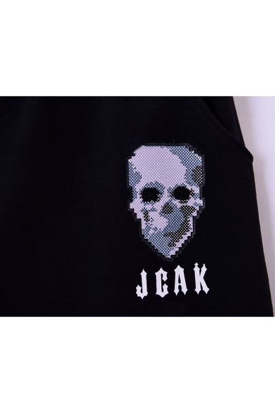 Men's Summer Fashion Letter JCAK Skull Printed Drawstring Waist Black Cotton Relaxed Sweat Shorts