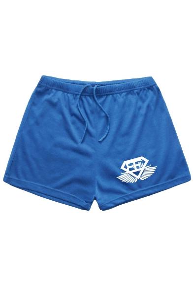 Men's Summer Fashion Logo Printed Drawstring Waist Running Sweat Shorts