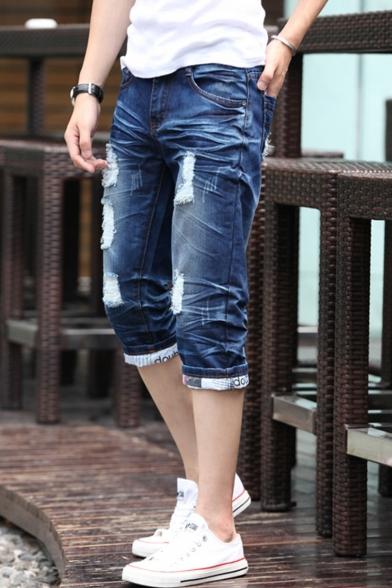 Men's Summer Fashion Retro Washed Rolled Cuffs Blue Ripped Denim Shorts