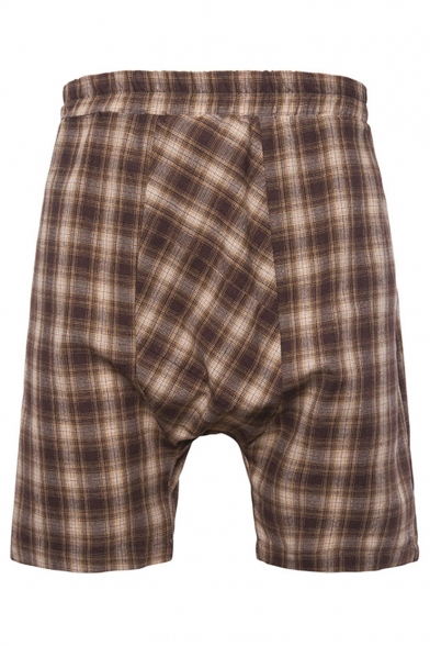 Men's Summer New Stylish Plaid Pattern Casual Baggy Drop-Crotch Cotton Shorts