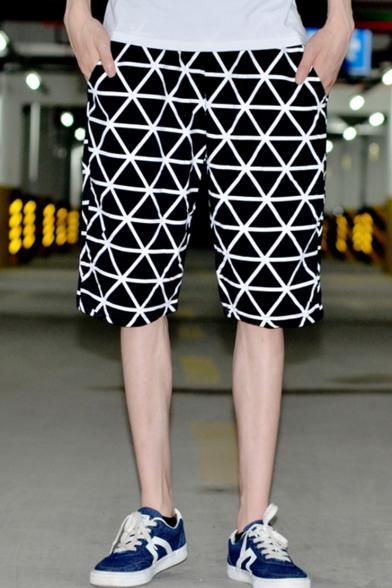 Men's Summer Trendy Geometric Printed Casual Loose Comfortable Black Cotton Shorts