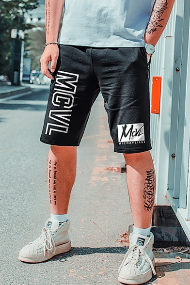 Men's Summer Trendy Letter MCVL Printed Zipper Pocket Drawstring Waist Casual Loose Sweat Shorts