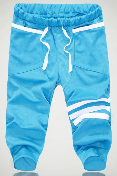 Men's Summer Trendy Three Bars Pattern Drawstring Waist Casual Cotton Sweat Shorts