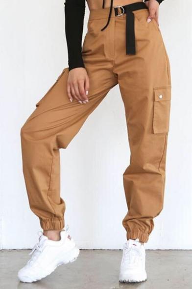 New Arrival Plain High Waist Belt Front Pocket Side Elastic Cuff Cargo Pants