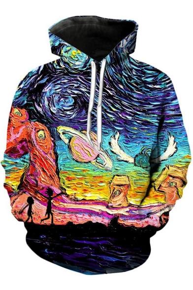 Stylish Comic Figure Universe Planet Oil Painting Long Sleeve Sport Loose Drawstring Hoodie