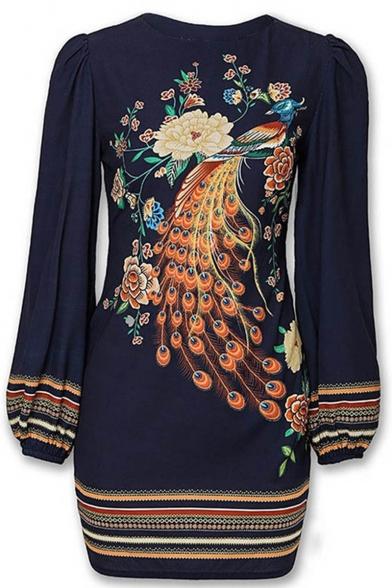 Stylish Womens Folk Style Round Neck Floral Peafowl Print Bishop Sleeves Mini Chic Dress