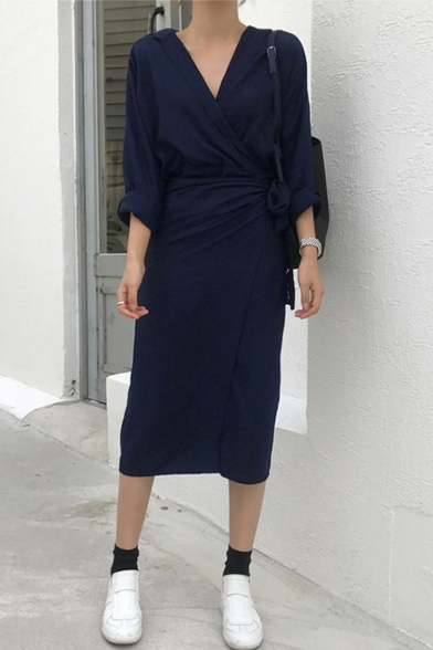 Stylish Womens Simple Plain Plunge V-Neck Long Sleeve Tie Waist Midi Sheath Wrap Shirt Dress