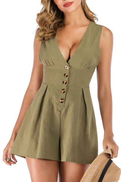 Stylish Womens Summer Military Green Sleeveless Plunge V Neck Button Down Gather Waist Holiday Rompers